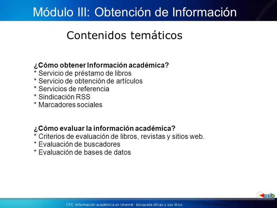 Módulo III: Obtención de Información