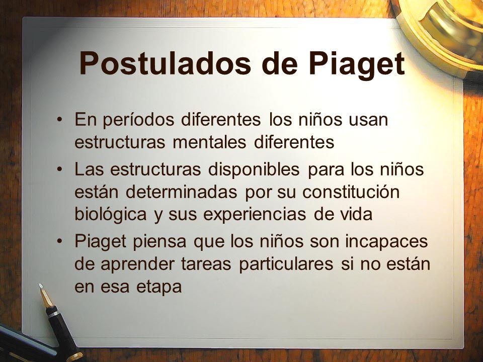 Postulados de Piaget En períodos diferentes los niños usan estructuras mentales diferentes.