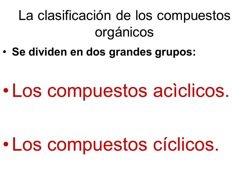 La clasificación de los compuestos orgánicos