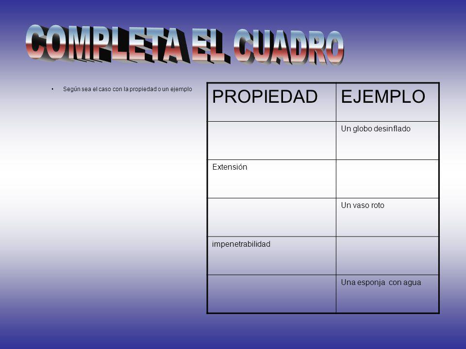 COMPLETA EL CUADRO PROPIEDAD EJEMPLO Un globo desinflado Extensión