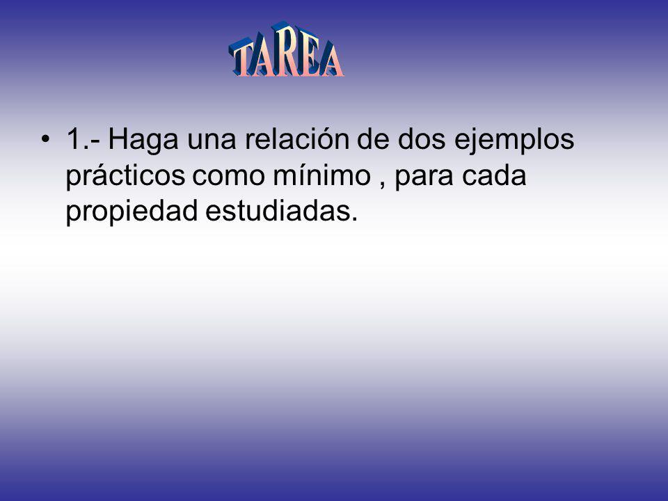 TAREA 1.- Haga una relación de dos ejemplos prácticos como mínimo , para cada propiedad estudiadas.