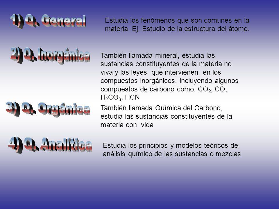 1) Q. General 2) Q. Inorgánica 3) Q. Orgánica 4) Q. Analítica