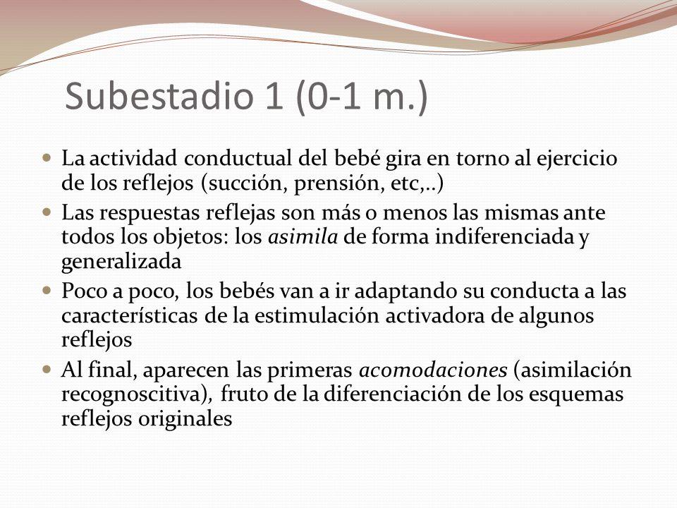 Subestadio 1 (0-1 m.) La actividad conductual del bebé gira en torno al ejercicio de los reflejos (succión, prensión, etc,..)