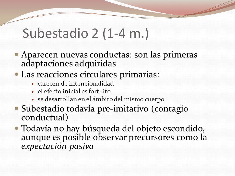 Subestadio 2 (1-4 m.) Aparecen nuevas conductas: son las primeras adaptaciones adquiridas. Las reacciones circulares primarias: