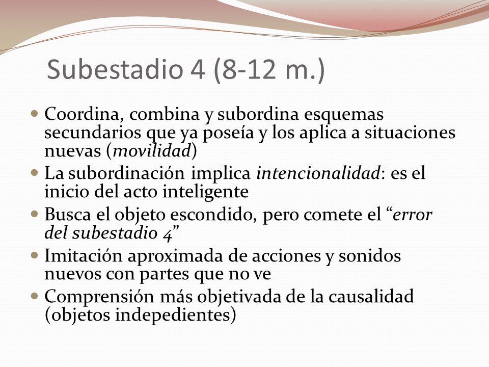 Subestadio 4 (8-12 m.) Coordina, combina y subordina esquemas secundarios que ya poseía y los aplica a situaciones nuevas (movilidad)