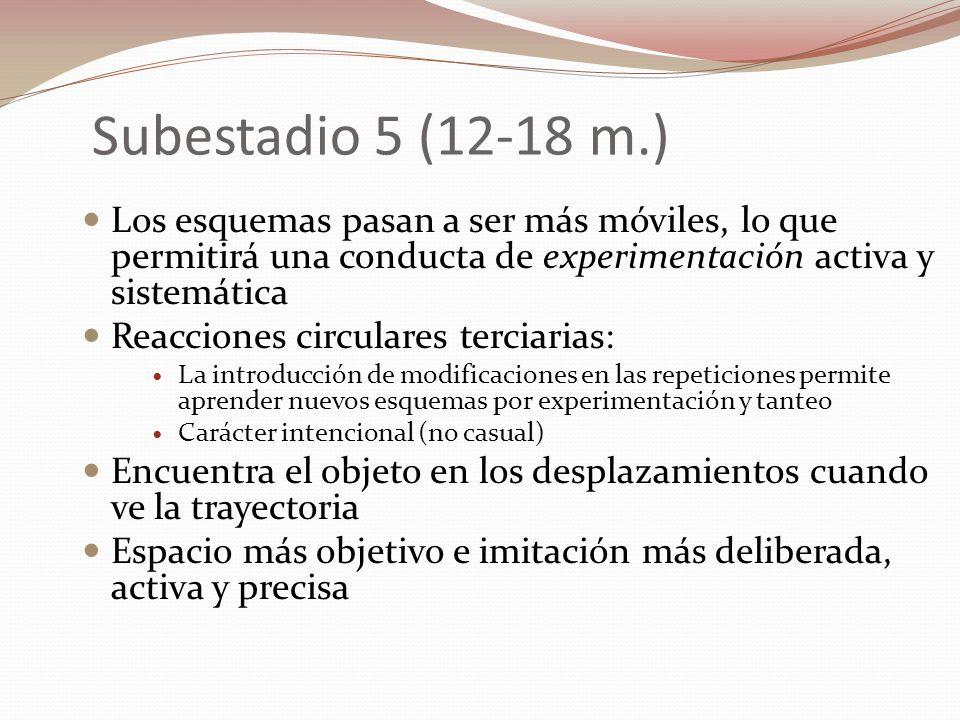 Subestadio 5 (12-18 m.) Los esquemas pasan a ser más móviles, lo que permitirá una conducta de experimentación activa y sistemática.