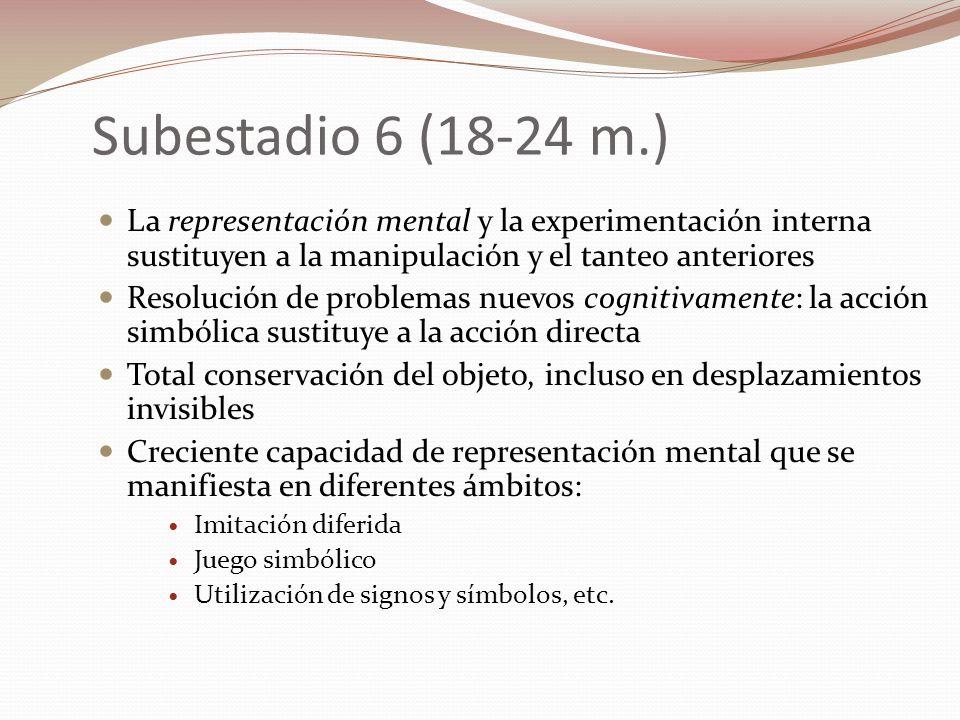 Subestadio 6 (18-24 m.) La representación mental y la experimentación interna sustituyen a la manipulación y el tanteo anteriores.