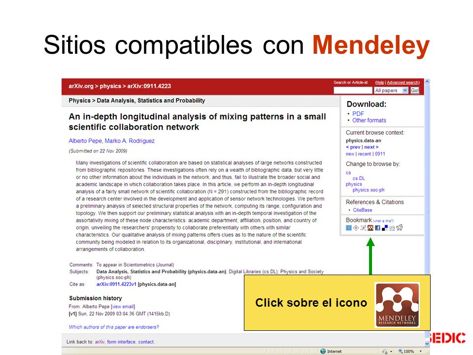 Sitios compatibles con Mendeley