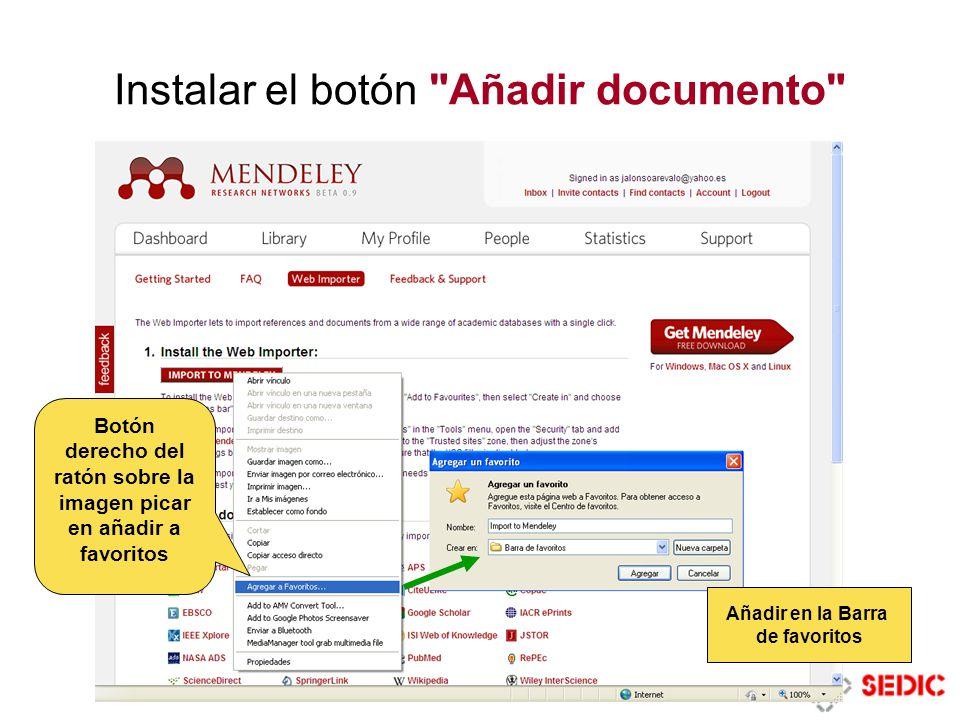 Instalar el botón Añadir documento