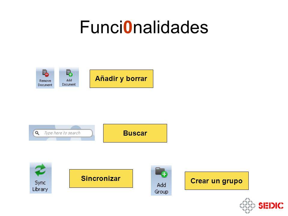 Funci0nalidades Añadir y borrar Buscar Sincronizar Crear un grupo