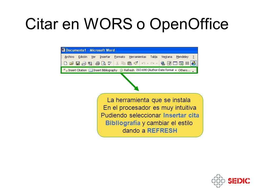 Citar en WORS o OpenOffice