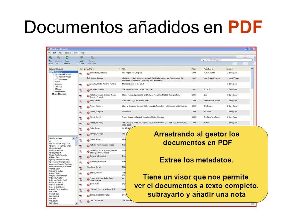 Documentos añadidos en PDF