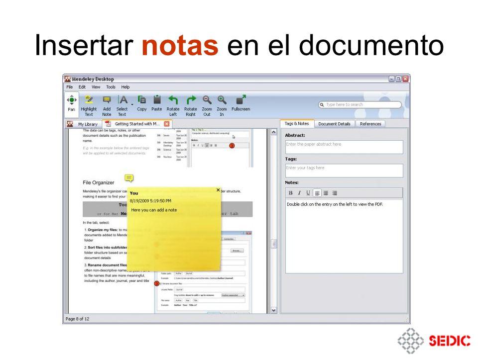 Insertar notas en el documento
