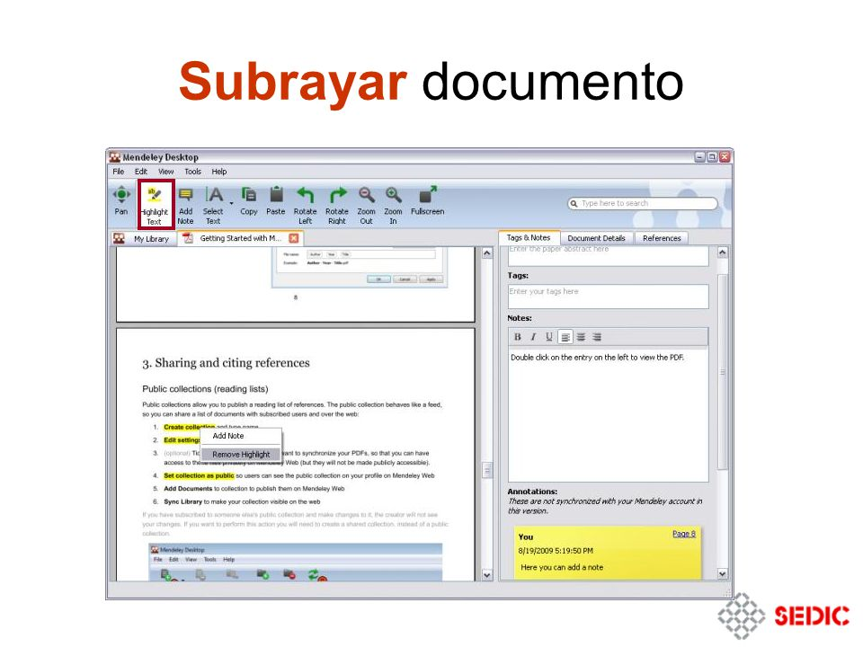 Subrayar documento
