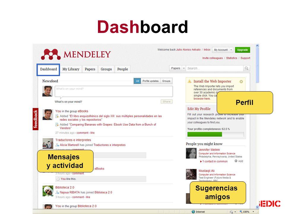 Dashboard Perfil Mensajes y actividad Sugerencias amigos