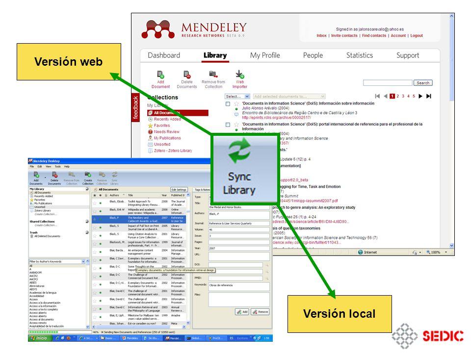 Versión web Versión local