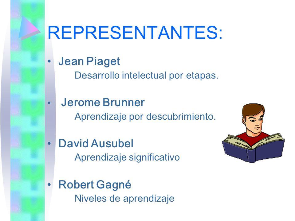 REPRESENTANTES: Jean Piaget David Ausubel Robert Gagné