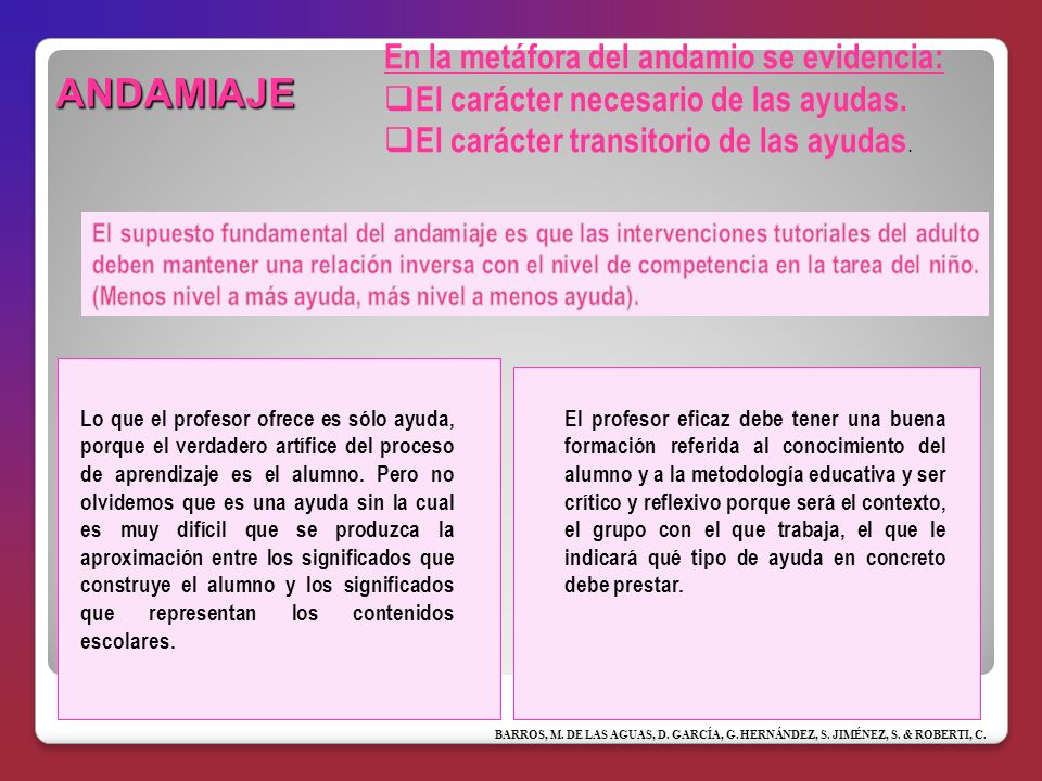 ANDAMIAJE En la metáfora del andamio se evidencia: