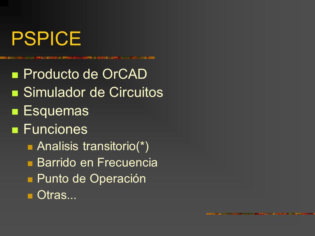 PSPICE Producto de OrCAD Simulador de Circuitos Esquemas Funciones