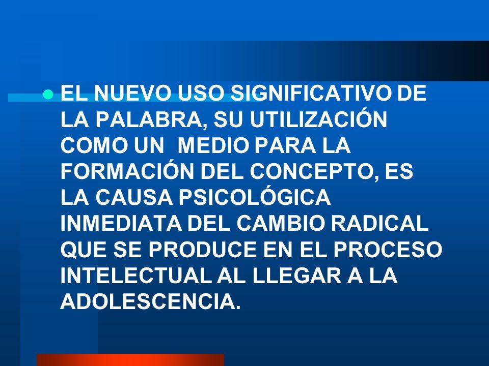 EL NUEVO USO SIGNIFICATIVO DE LA PALABRA, SU UTILIZACIÓN COMO UN MEDIO PARA LA FORMACIÓN DEL CONCEPTO, ES LA CAUSA PSICOLÓGICA INMEDIATA DEL CAMBIO RADICAL QUE SE PRODUCE EN EL PROCESO INTELECTUAL AL LLEGAR A LA ADOLESCENCIA.