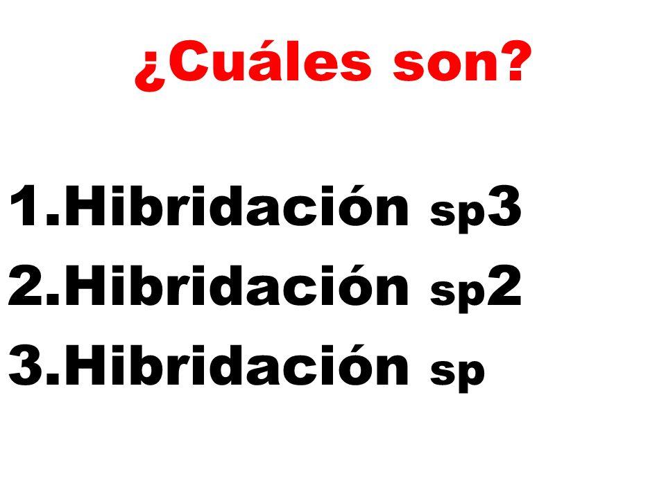 ¿Cuáles son Hibridación sp3 Hibridación sp2 Hibridación sp