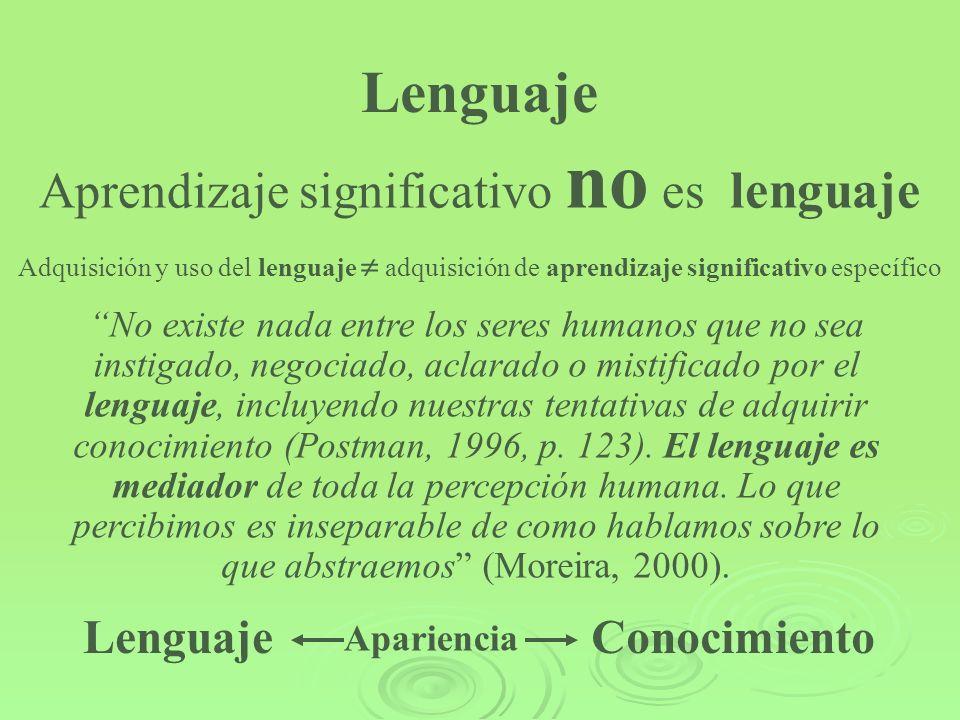 Aprendizaje significativo no es lenguaje