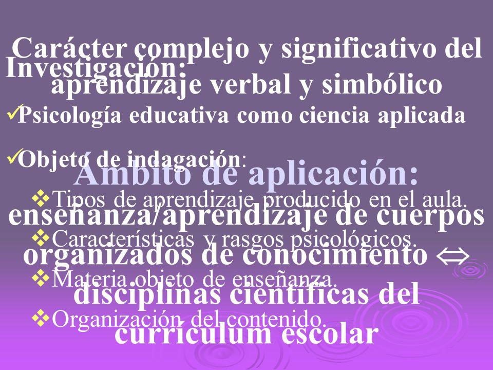 Carácter complejo y significativo del aprendizaje verbal y simbólico