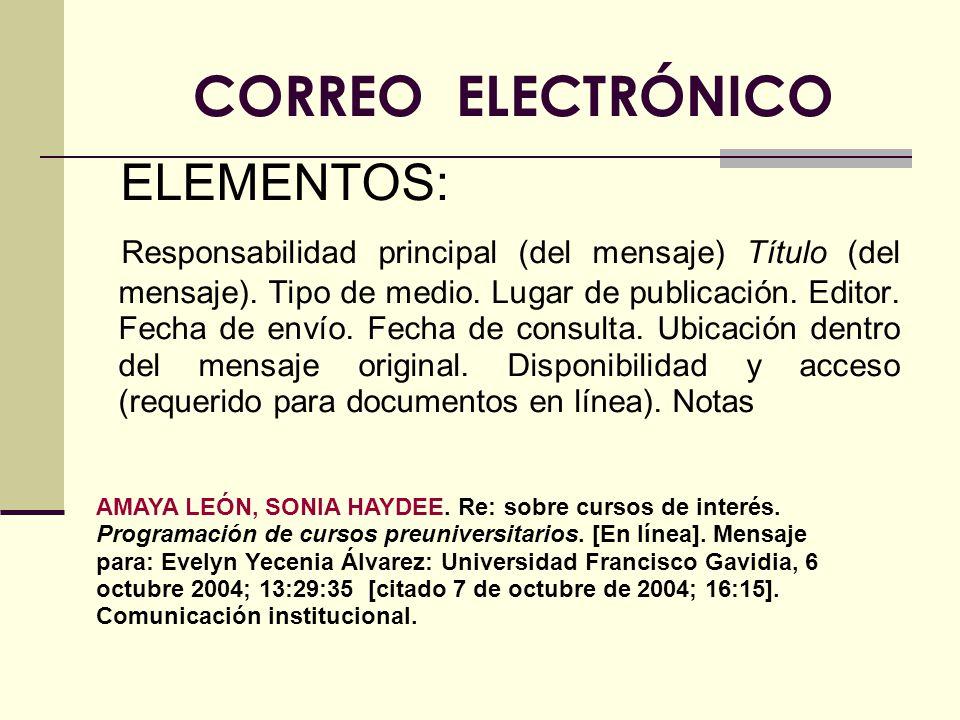 CORREO ELECTRÓNICO ELEMENTOS: