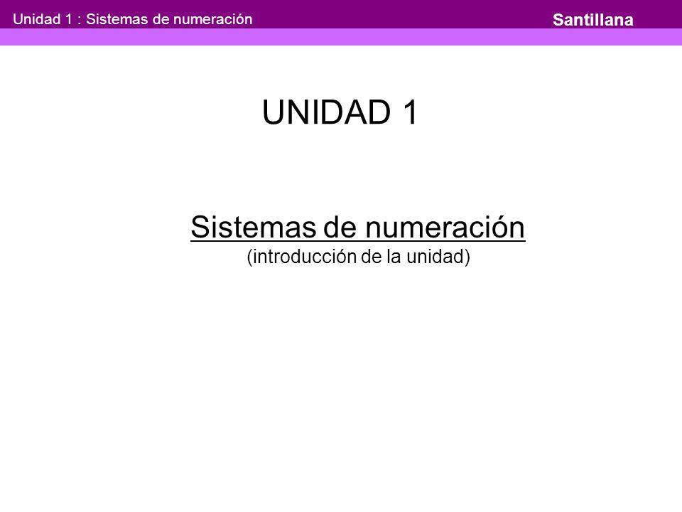 UNIDAD 1 Sistemas de numeración (introducción de la unidad) Santillana