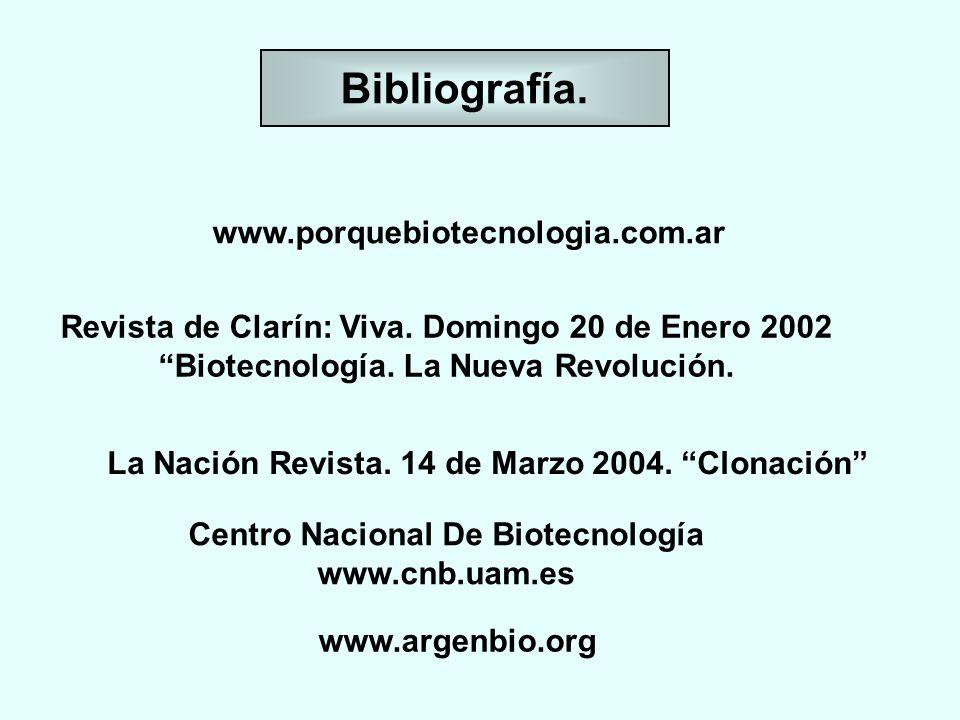 Bibliografía. www.porquebiotecnologia.com.ar