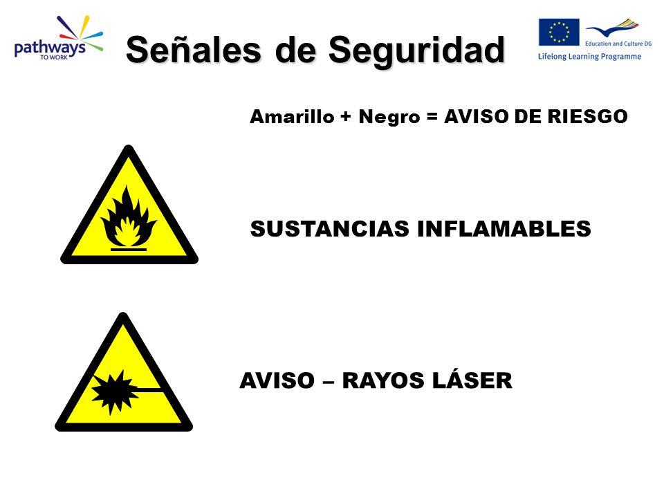 Señales de Seguridad SUSTANCIAS INFLAMABLES AVISO – RAYOS LÁSER