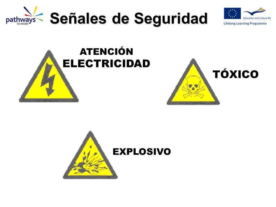 Señales de Seguridad ATENCIÓN ELECTRICIDAD TÓXICO EXPLOSIVO