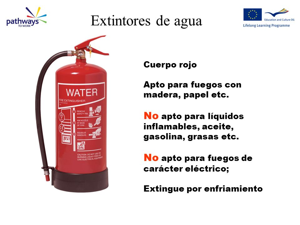 Extintores de aguaCuerpo rojo. Apto para fuegos con madera, papel etc. No apto para líquidos inflamables, aceite, gasolina, grasas etc.