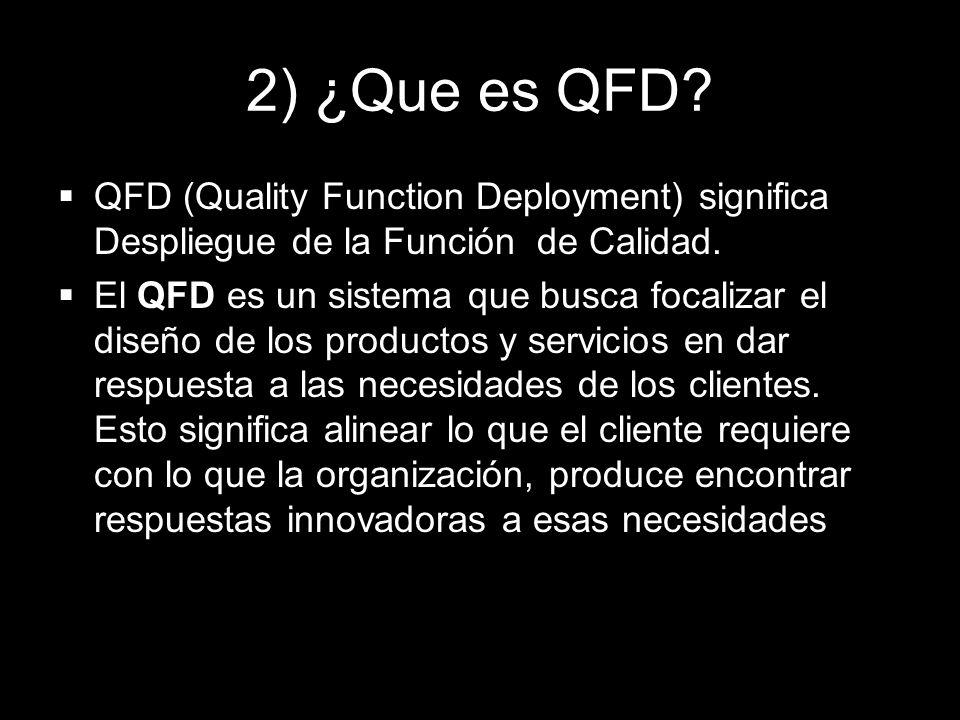 2) ¿Que es QFD QFD (Quality Function Deployment) significa Despliegue de la Función de Calidad.