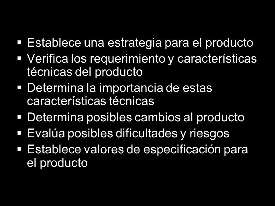 Establece una estrategia para el producto