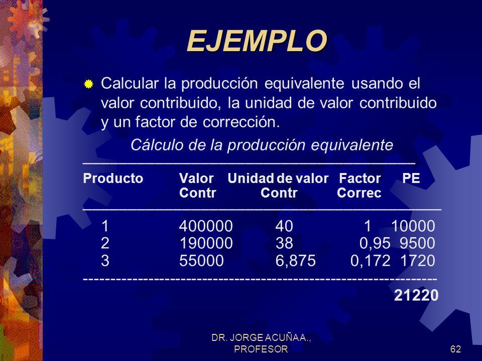 EJEMPLO Calcular la producción equivalente usando el valor contribuido, la unidad de valor contribuido y un factor de corrección.