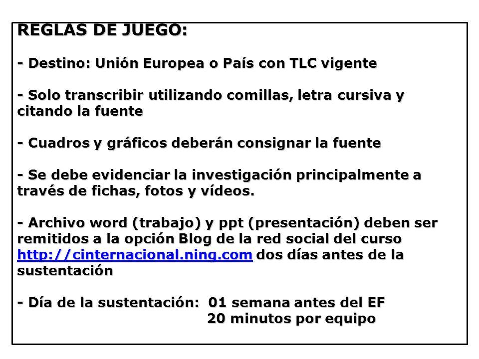 REGLAS DE JUEGO: