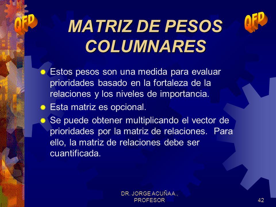 MATRIZ DE PESOS COLUMNARES