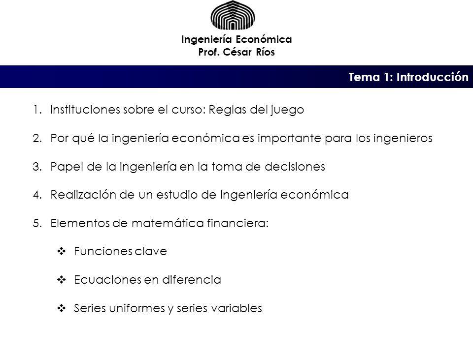Instituciones sobre el curso: Reglas del juego