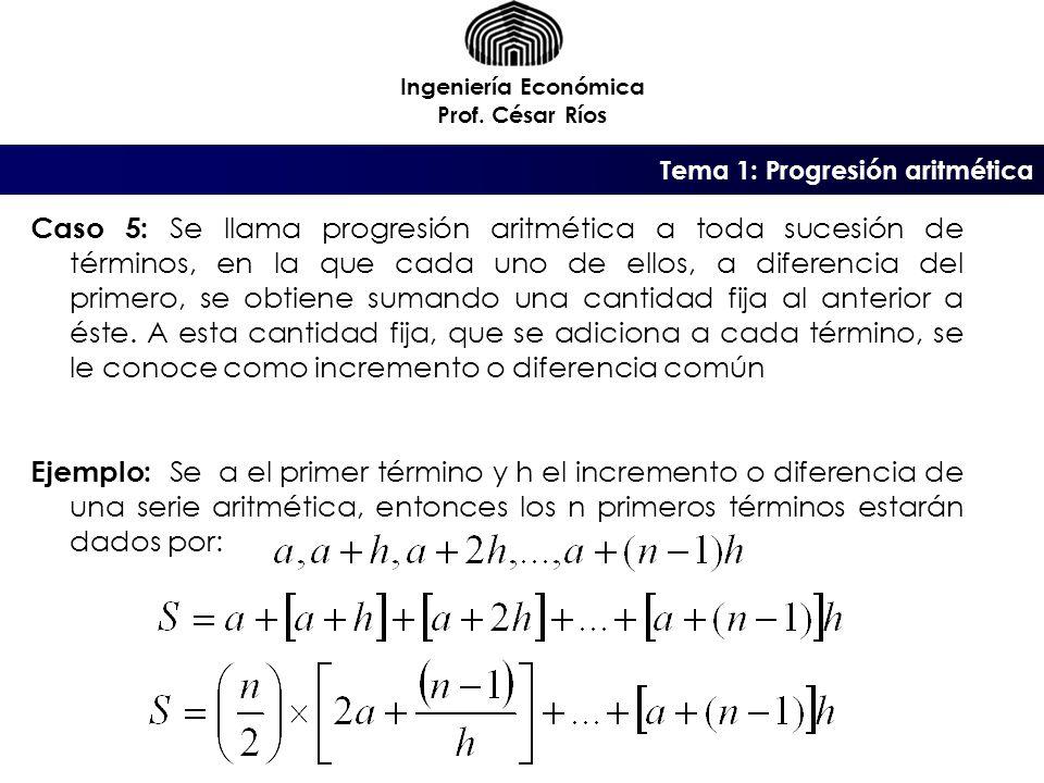 Ingeniería Económica Prof. César Ríos. Tema 1: Progresión aritmética.
