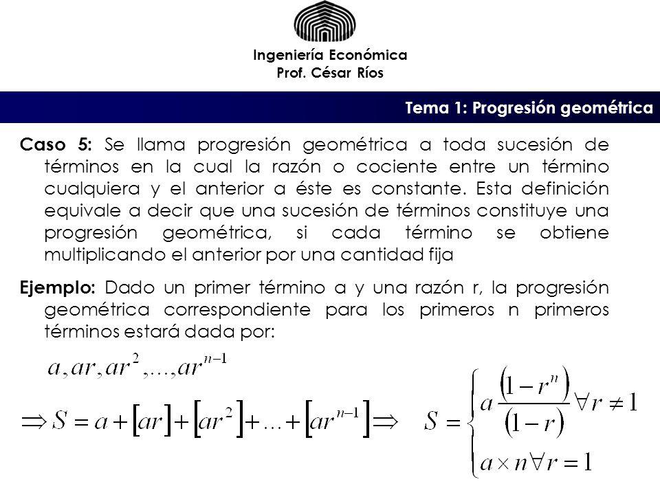 Ingeniería Económica Prof. César Ríos. Tema 1: Progresión geométrica.
