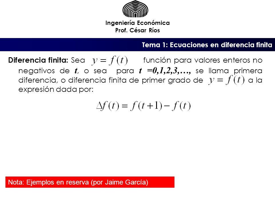 Ingeniería Económica Prof. César Ríos. Tema 1: Ecuaciones en diferencia finita.