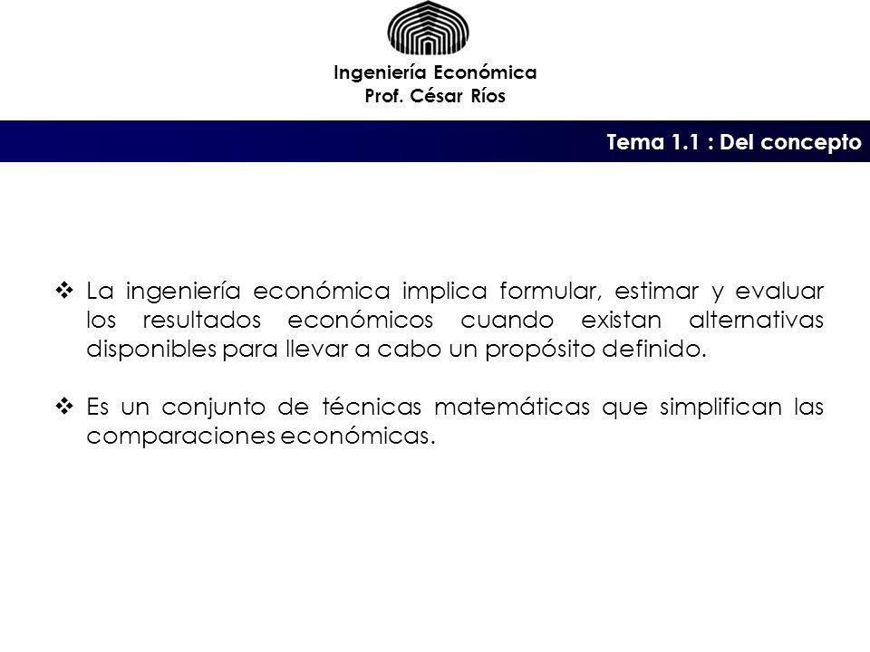 Ingeniería Económica Prof. César Ríos. Tema 1.1 : Del concepto.