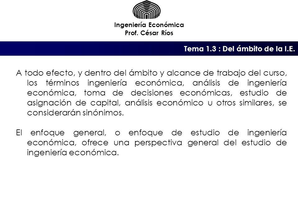 Ingeniería Económica Prof. César Ríos. Tema 1.3 : Del ámbito de la I.E.