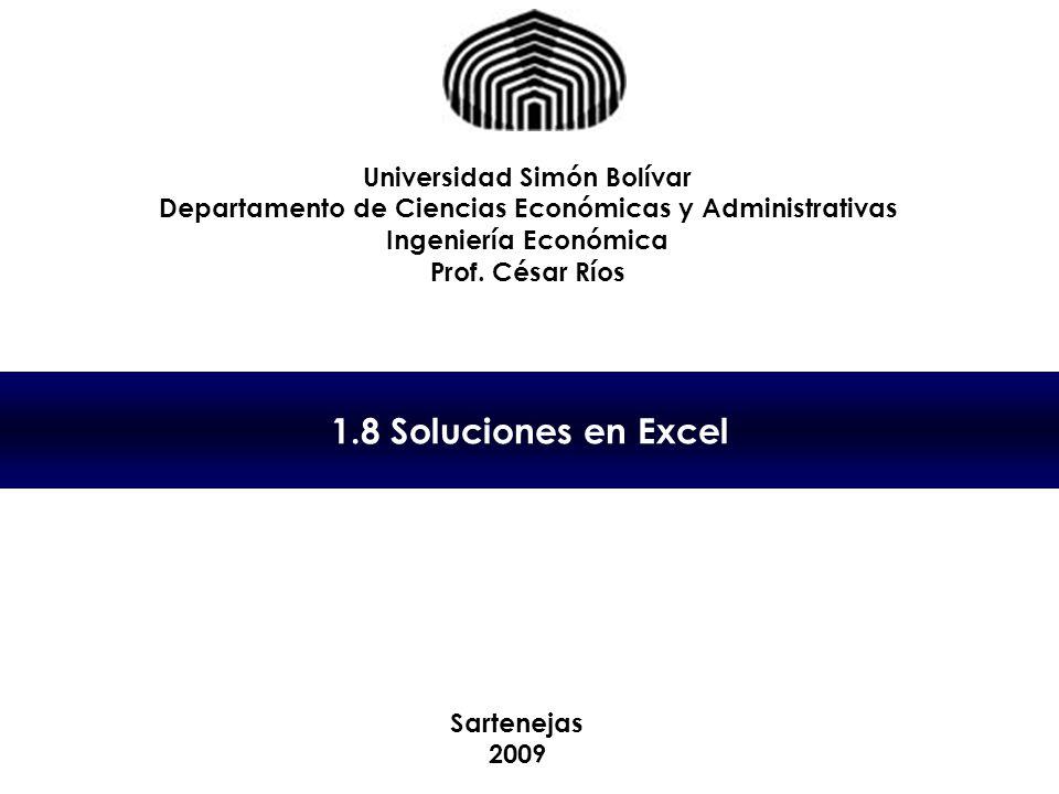 1.8 Soluciones en Excel Universidad Simón Bolívar