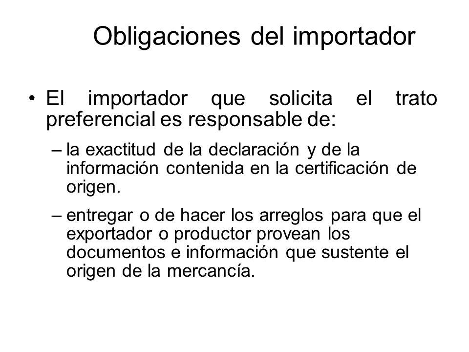Obligaciones del importador