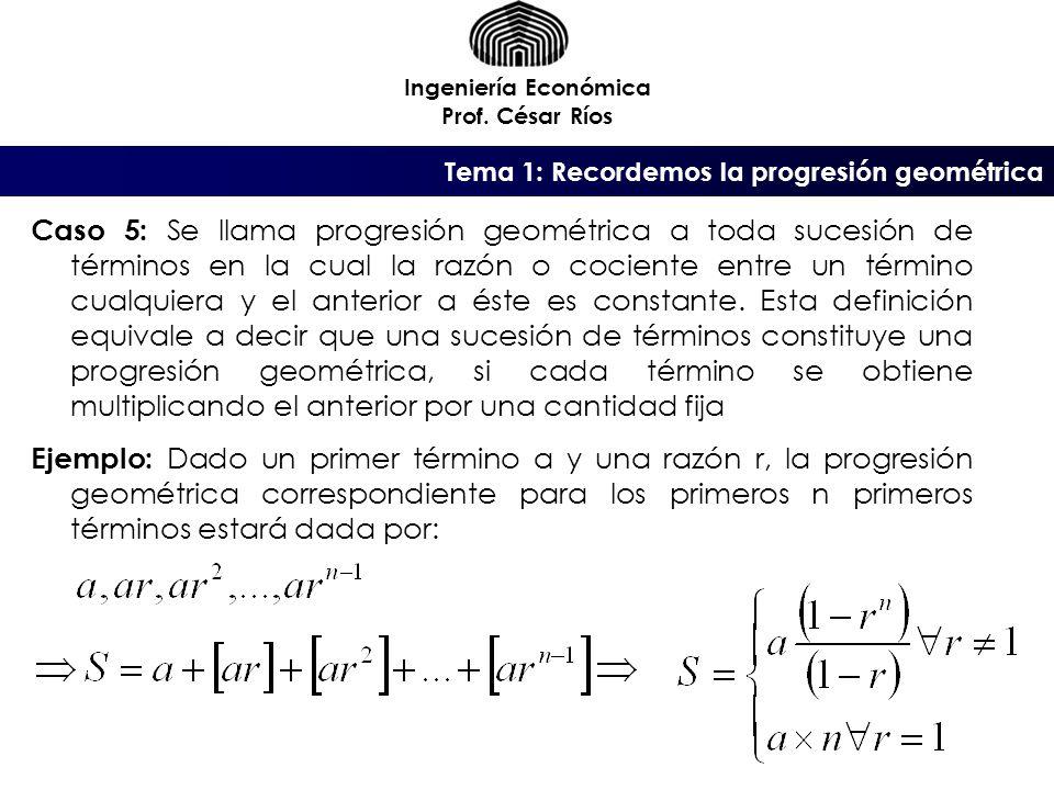 Ingeniería Económica Prof. César Ríos. Tema 1: Recordemos la progresión geométrica.