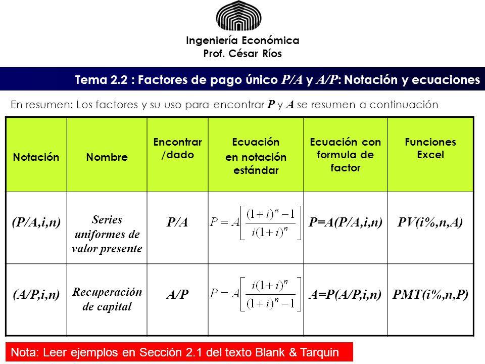 (P/A,i,n) P/A P=A(P/A,i,n) PV(i%,n,A) (A/P,i,n) A/P A=P(A/P,i,n)