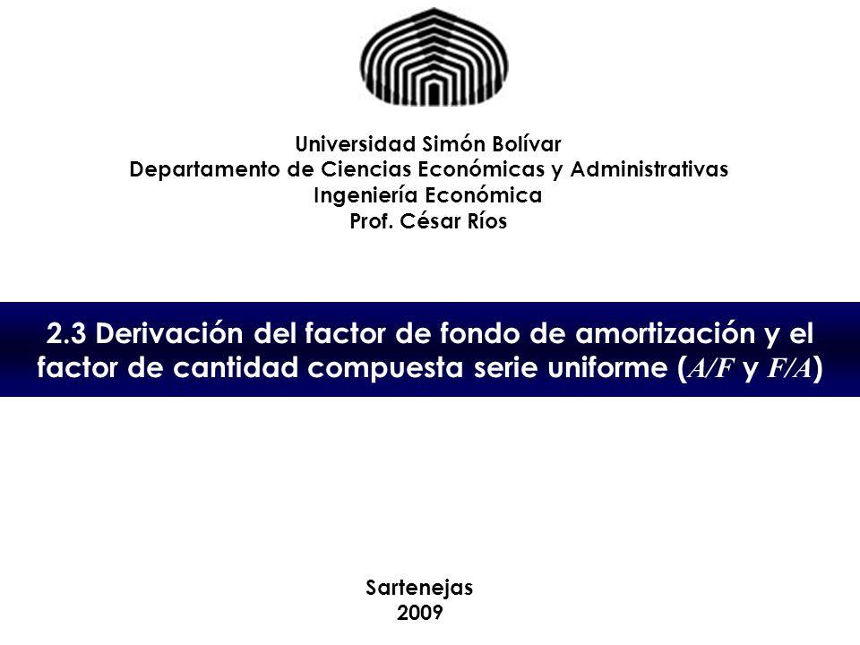 2.3 Derivación del factor de fondo de amortización y el