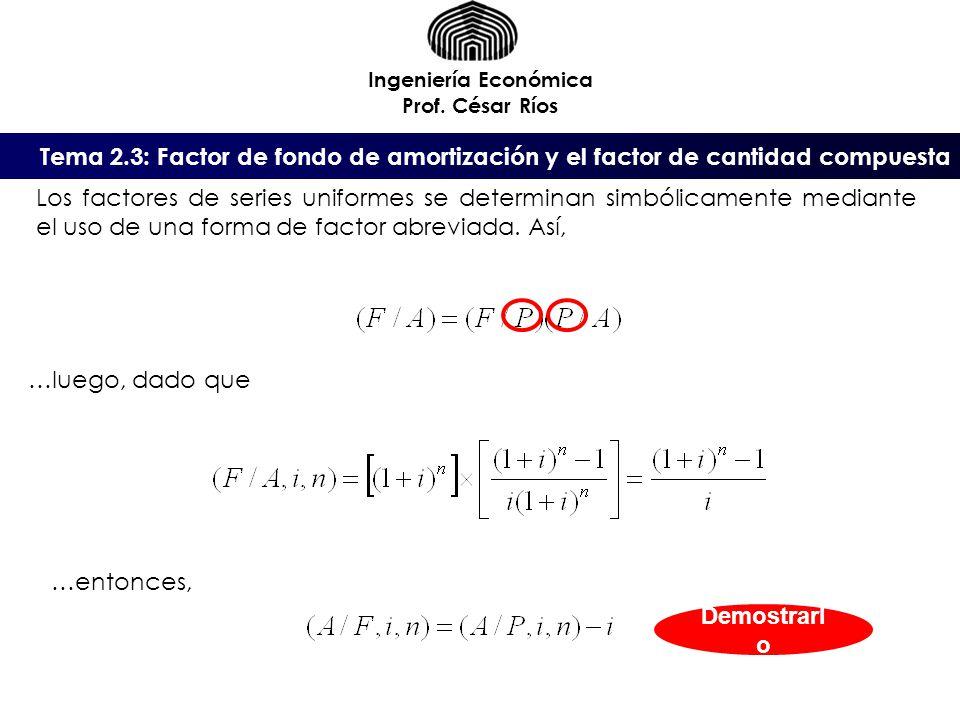 Ingeniería Económica Prof. César Ríos. Tema 2.3: Factor de fondo de amortización y el factor de cantidad compuesta.